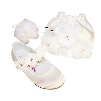 Bolso y bailarinas de niña flor de Satén marfil bebés