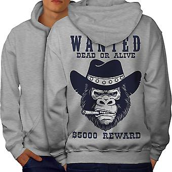 Cowboy Bad Monkey Face Men GreyHoodie Back | Wellcoda