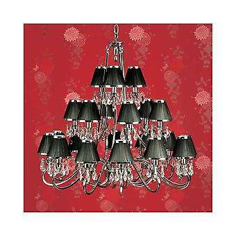 Interiors 1900 Oksana Nickel 21 Light Chandelier, Black Shades
