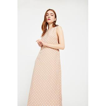 Side Party Dot Printed Midi Dress With V-Back