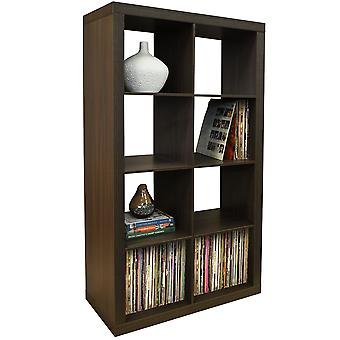 Cubo - 8 Cubby Square Display mensole / Lp in vinile Record Storage Tower - noce