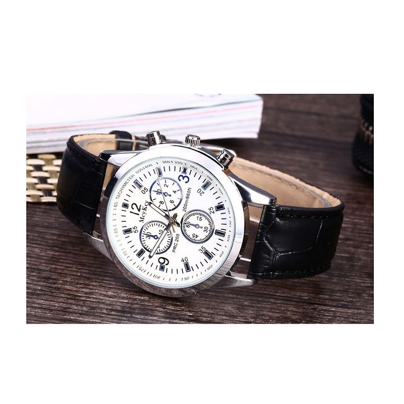 Luxury Silver Black Chrono Watch Time Elegant Business