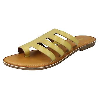 Ladies Leather Collection Flat Strappy Sandals F00125 - Yellow Leather - UK Size 7 - EU Size 40 - US Size 9