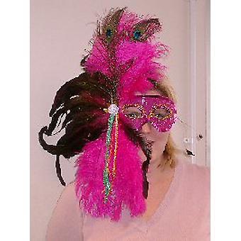 Gevederde masker roze pailletten masker met volledige pluim van veren