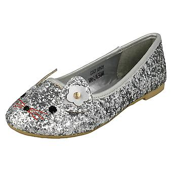Girls Spot On Mouse Face Ballerinas H2492