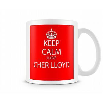 Hålla lugna jag kärlek Cher Lloyd tryckt mugg