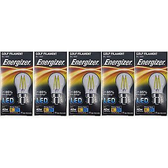 5 X Energizer Filament LED Golf Bulb  BC B22 4W = 40W 470Lumen Warm White Bayonet Cap [Energy Class A+]