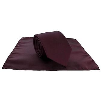Michelsons of London Plain Polyester Pocket Square and Tie Set - Wine