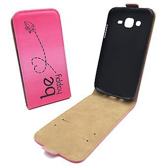 携帯電話サムスン銀河 J5 の携帯電話ケース ポーチする幸せのピンク