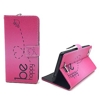 Mobile phone case pouch for mobile WIKO fever 4 G be happy pink