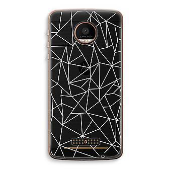 Motorola Moto Z Force transparant Case (Soft) - geometrische lijnen wit