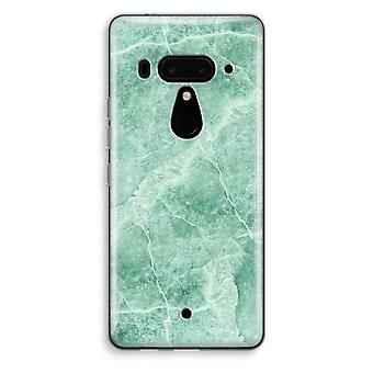 HTC U12+ Transparent Case - Green marble