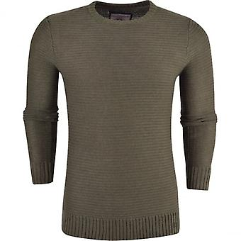 Brave Soul Mens Brave Soul Textured Knitwear Jumper Sweater Crew Neck Cotton Pullover