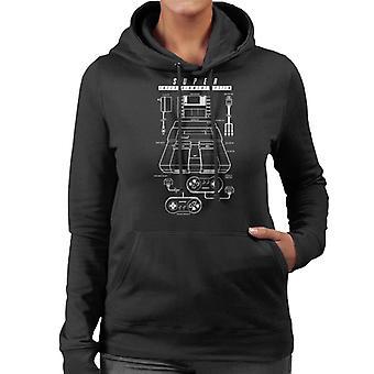 Nintendo Super NES SNES Patent Blueprint Women's Hooded Sweatshirt