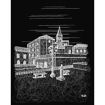 Alghero White Town on Black Poster Print by Fabio Alfonso