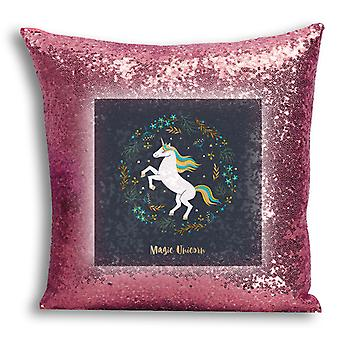 i-Tronixs - Unicorn Printed Design Rose Gold Sequin Cushion / Pillow Cover with Inserted Pillow for Home Decor - 12