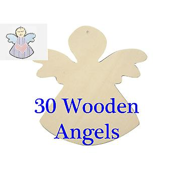 30 Wooden Angels to Decorate for Christmas - 12cm