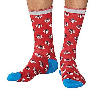 Chevron men's super-soft bamboo crew socks in red | Thought