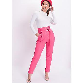 Croc Print Belted taps toelopende broeken roze