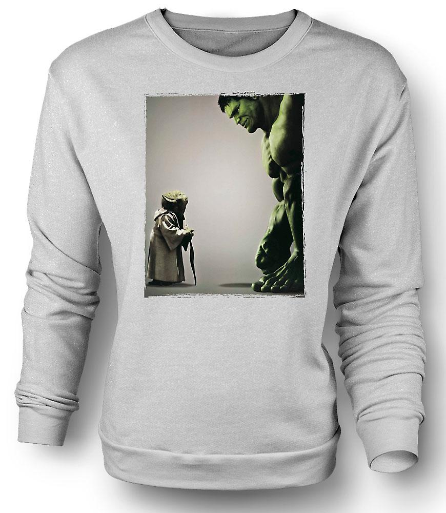 Mens Sweatshirt Yoda V Incredible Hulk - Super Hero
