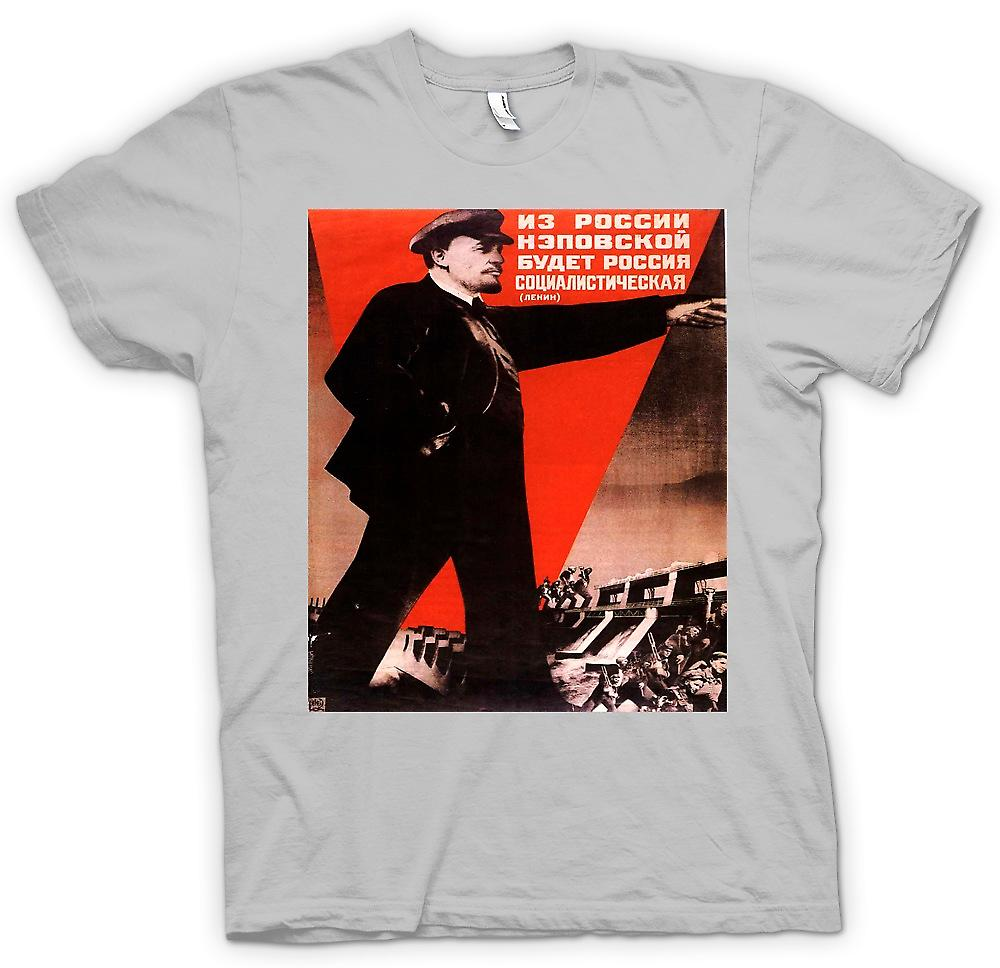 Hommes T-shirt - Affiche russe Lénine Propoganda