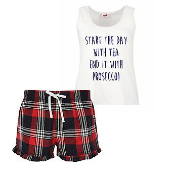 Start The Day With Tea End It With Prosecco Ladies Tartan Frill Short Pyjama Set Red Blue or Green Blue