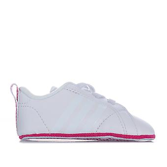 Baby adidas Vs Advantage Crib Shoes In White Pink-Elasticated snørebånd - blød sål-