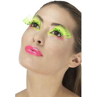 80s Polka Dot Eyelashes, Neon Green, Contains Glue Fancy Dress Accessory