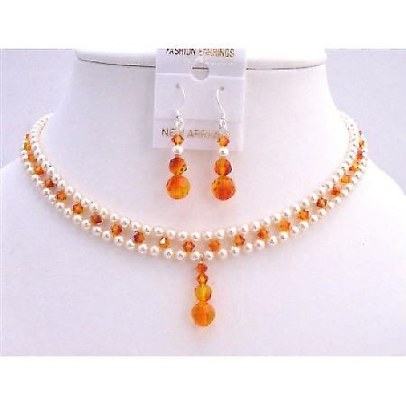 Handmade Bridal Jewelry Fire Opal Crystals Drop Down Earrings Necklace