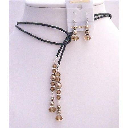 Lariat Leather Cord Pearls Jewelry w/ Colorado Crystals Jewelry Set