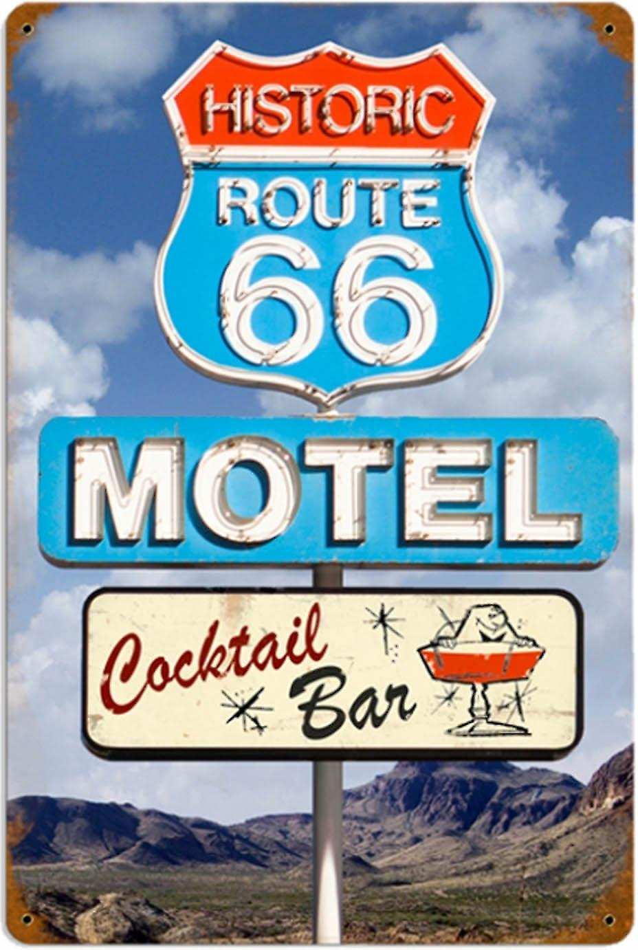 Route 66 Motel Cocktail Bar rusted metal sign (pst 1812)