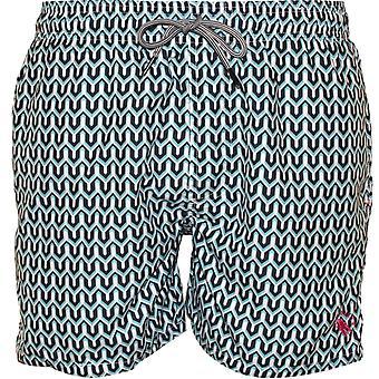 Ted Baker Geo Print Swim Shorts,Turquoise