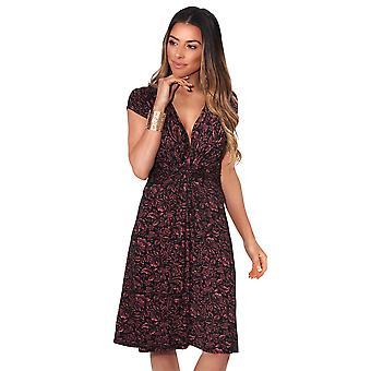 7c75429b KRISP kvinner floral Aztec ruched gardin vri knute foran kjole tie belte  fest sommer