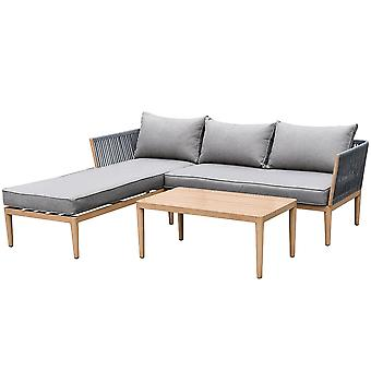 Maze Rattan Palma 3-Seater Grey Outdoor Rope Chaise Sofa Set