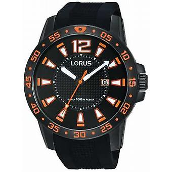 Lorus Mens Black Rubber Strap Black Dial RH931FX9 Watch