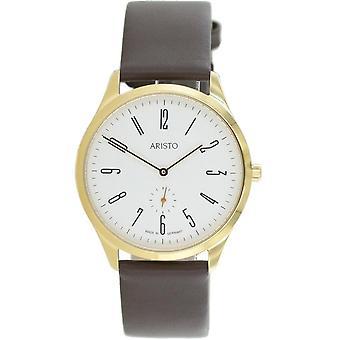 Aristo Bauhaus 1069 Men's Watch stainless steel 1H37 leather