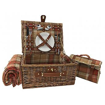 Autumn Red Tartan 2 Person Fitted Picnic Basket with Cooler