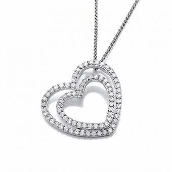 Cavendish French Cubic Zirconia Double Heart Pendant with a 16-18