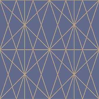 Web Geo Pattern Geometric Blue Gold Metallic Shimmer Wallpaper Modern Arthouse