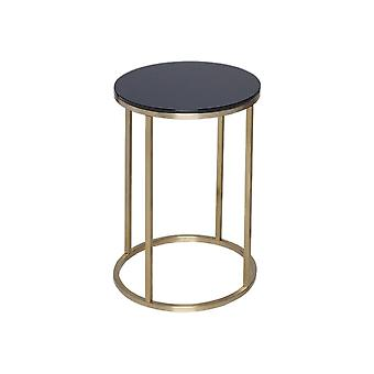 Gillmore Space Black Glass And Gold Metal Contemporary Circular Side Table