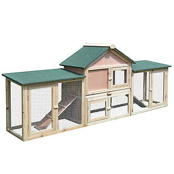 PawHut Deluxe Wooden Rabbit Hutch Bunny Cage House w/ Ladder Outdoor Run