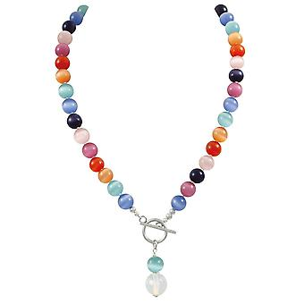 Eternal Collection Melody Rainbow Cats Eye Beaded Silver Tone Toggle Statement Necklace