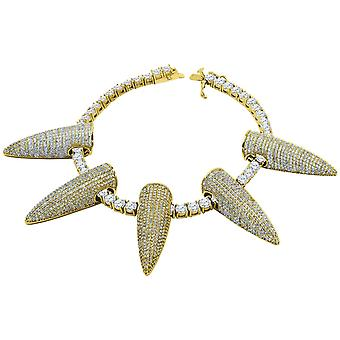 Iced Out Bling 4mm Zirconia 21cm Bracelet - SPIKES gold