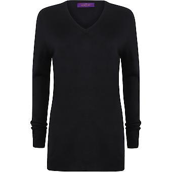 Henbury - Women's Ladies Cashmere Touch Acrylic V-Neck Jumper