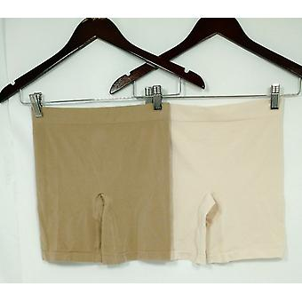 Breezies Panties (2) Seamless Long Leg Boy Shorts Beige