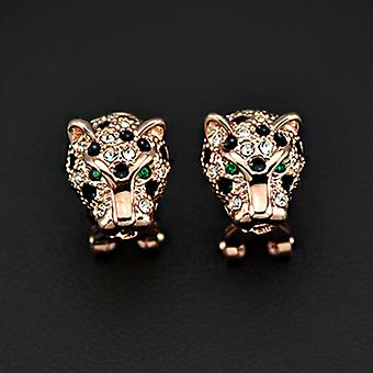 18K Rose Gold Plated Stellux Austrian Crystals Green Eyes Cheetah Earrings, 1.3cm