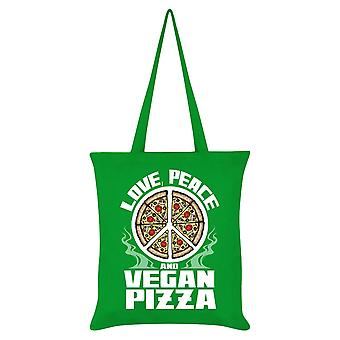 Grindstore Love Peace & Vegan Pizza Tote Bag