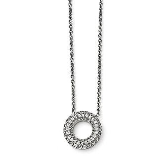 Stainless Steel Polished Circle With Cubic Zirconias Necklace - 18.25 Inch