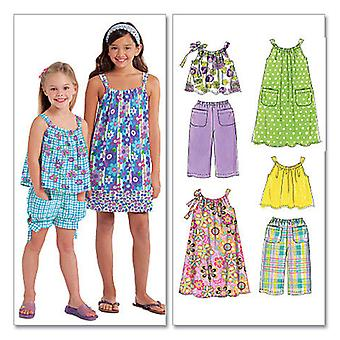 Children's Girls' Tops, Dresses, Shorts And Pants  Cce 3  4  5  6 Pattern M5797  Cce