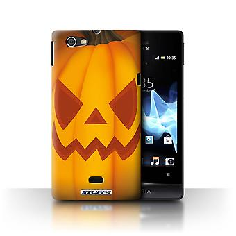 STUFF4 Case/Cover for Sony Xperia Miro/ST23I/Evil/Halloween Pumpkin